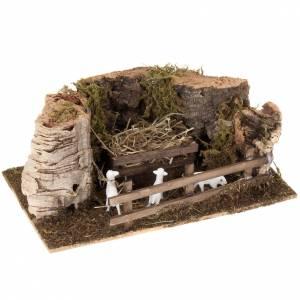 Animali presepe: Ovile pecore legno e sughero presepe 10 cm