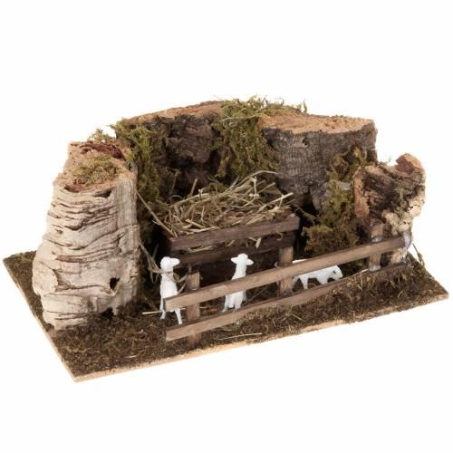 Ovile pecore legno e sughero presepe 10 cm s1