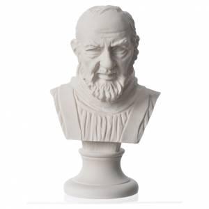Reconstituted marble religious statues: Padre Pio, reconstituted carrara marble bust, 14 cm