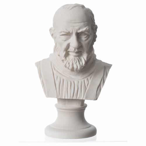 Padre Pio, reconstituted carrara marble bust, 14 cm s1