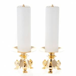 pair of wrought candle holders, height 15cm s1