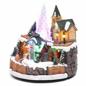 Pueblos navideños en miniatura: Paisaje Navideño con tren en movimiento iluminación y melodía 25x20x25 cm
