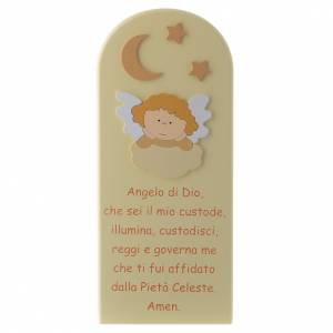 Pala Angelo di Dio con Angelo legno beige 30x10 cm s1