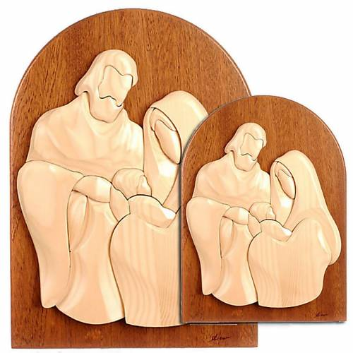 Bassorilievo Sacra Famiglia pala mogano 1