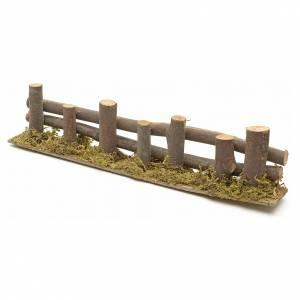 Ponts, ruisseaux, palissades pour crèche: Palissade de troncs en miniature 33x4,5cm