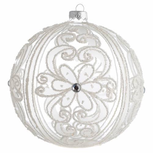 Palla addobbo albero trasparente e bianca 150 mm s1