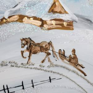 Palla albero Natale vetro paesaggio neve 15 cm s7