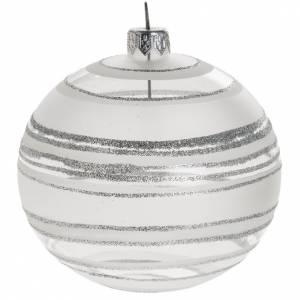 Palline di Natale: Palla albero Natale vetro trasparente bianco rigata 10 cm