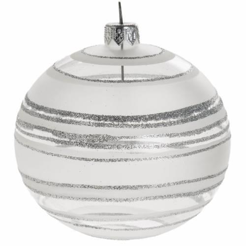 Palla albero Natale vetro trasparente bianco rigata 10 cm s1