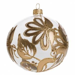 Palla Natale per albero vetro soffiato trasparente oro 10 cm s1