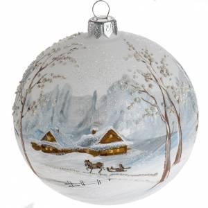 Palla Natale per l'albero vetro paesaggio con neve 10 cm s1