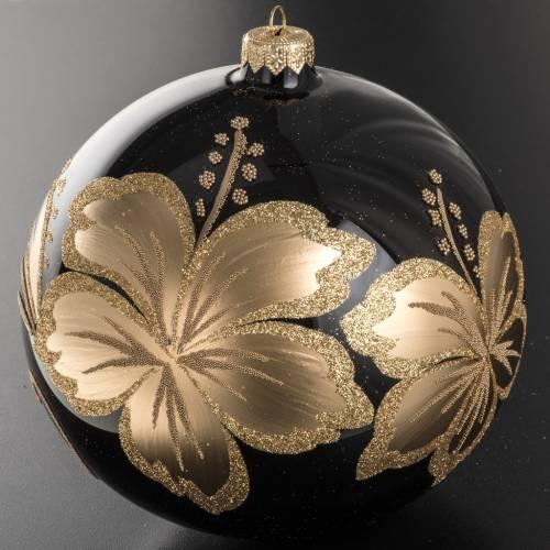 Palla Natale vetro soffiato nero fiore dorato 15 cm s2
