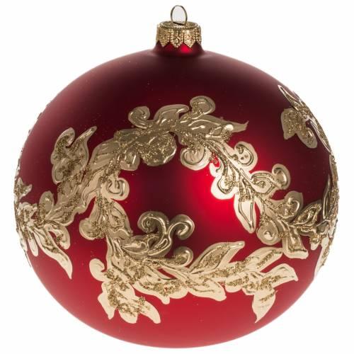Palla Natale vetro soffiato rosso decorazioni dorate 15 cm s1