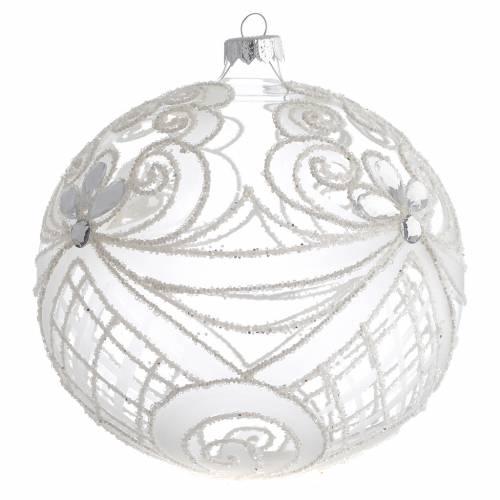Palla Natale vetro soffiato trasparente e bianco 150mm s2