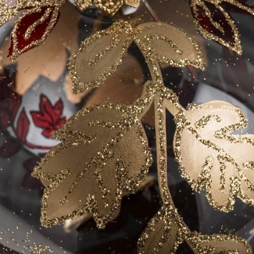 Palla Natale vetro trasparente decori rossi oro 8 cm s4