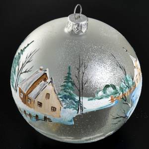 Palla per albero di Natale paesaggio innevato 10 cm s2