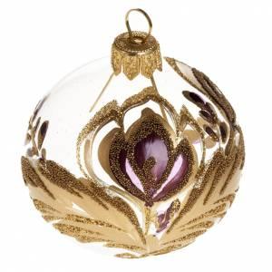 Palla per albero di Natale vetro oro fucsia 6 cm s1