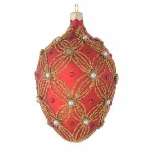 Palla uovo vetro rosso perle e decori oro 130 mm s2