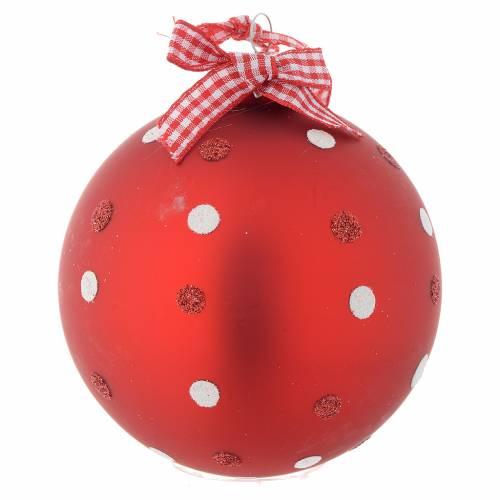 Palla vetro rossa Albero di Natale 90 mm s2