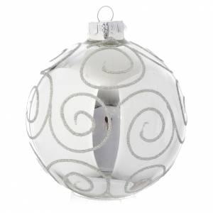Palline di Natale: Palla vetro Silver decorata 90 mm per albero di Natale