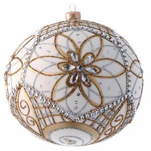 Palline di Natale: Palla vetro soffiato bianco, argento e oro 200 mm