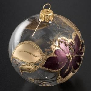 Pallina albero Natale trasparente decori oro viola 8cm s2