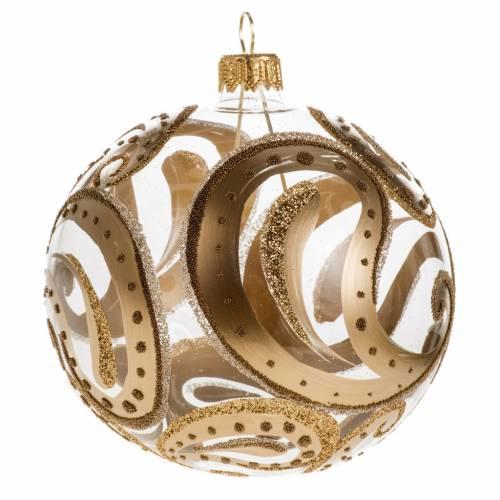 Pallina albero Natale trasparente oro gocce 10cm s1