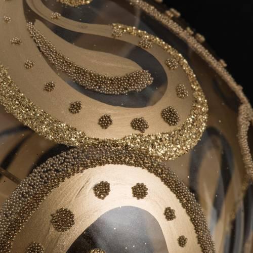 Pallina albero Natale trasparente oro gocce 10cm s3