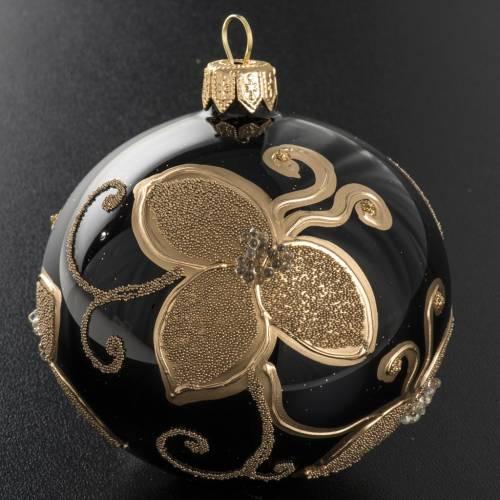 Pallina albero Natale vetro nero decori fiori oro diam 8cm s2