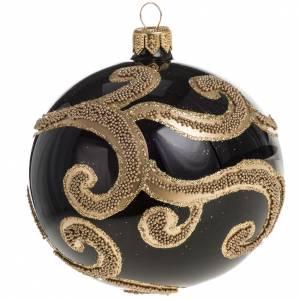 Pallina albero Natale vetro nero decori oro 10 cm s1