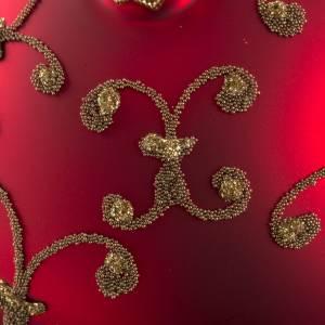 Pallina albero Natale vetro rossa decori oro 10cm s3
