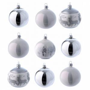 Palline di Natale: Palline vetro lucide bianco e argento 80 mm scatola 9 pz