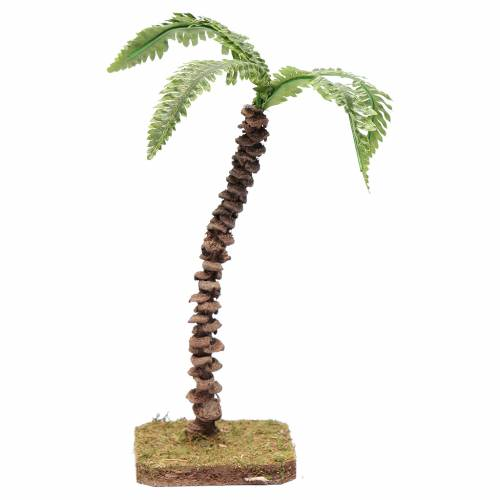 Palma con fusto lavorato e foglie modellabili 18 cm accessorio presepe s1