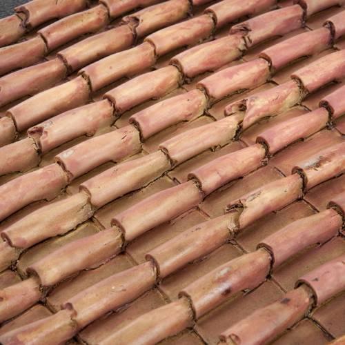 Panneau toit pour crèche résine tuiles 16x10 cm s3