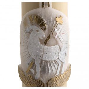Paschal Candle, beeswax with lamb and cross, silver 8x120cm s4