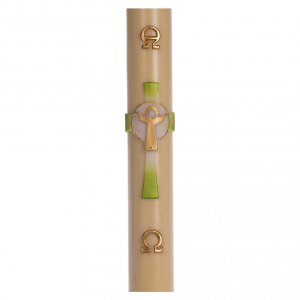 Candles, large candles: Paschal candle in beeswax with green Resurrected Christ 8x120cm