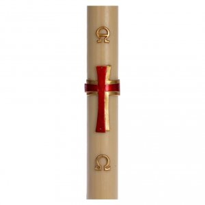 Candles, large candles: Paschal candle in beeswax with red cross in relief 8x120cm