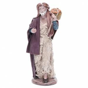 Figuras del Belén: Pastor con cesta belén terracota 17 cm