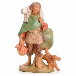 Figuras del Belén: Pastor con cordero y perro 15 cm Fontanini