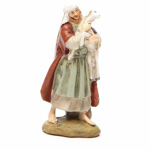 Figuras del Belén: Pastor con oveja resina pintada 10 cm Linea Martino Landi