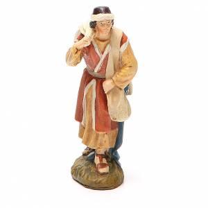 Figuras del Belén: Pastor  viajero  resina pintada 10 cm linea Martino Landi