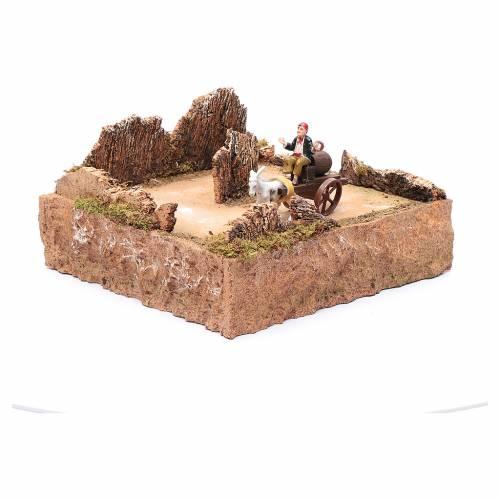 Pastore in movimento su carro con cavallo ambientazione presepe s3