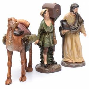 Pastori e cammello resina set 3 pz per presepe 20 cm s3