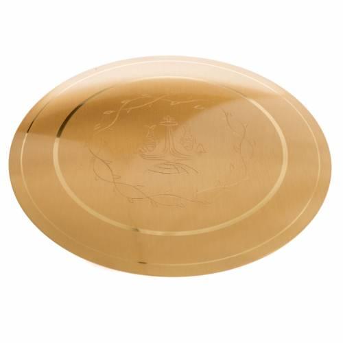 Patena de latón lisa grabada, diámetro 15cm s3