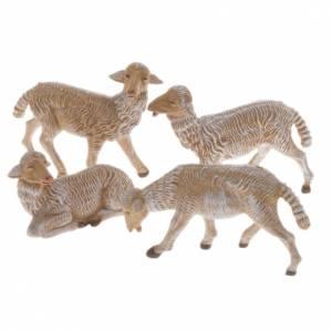 Animali presepe: Pecore presepe plastica marrone 4 pz. 16 cm