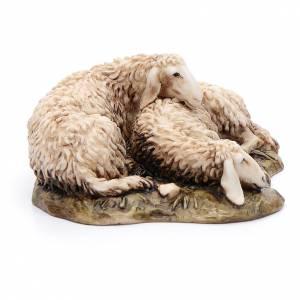 Pecore sdraiate 15 cm resina Moranduzzo s2