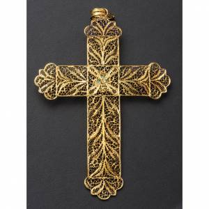Pectoral Cross, golden silver 800 filigree with Turchese s6