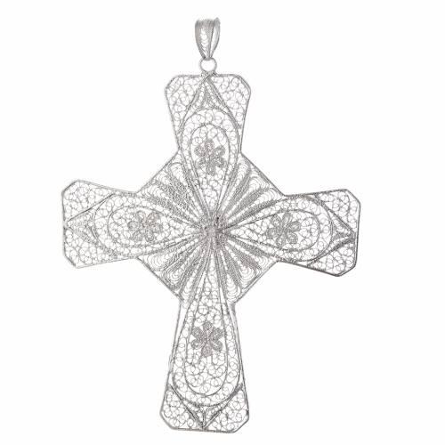 Pectoral cross silver 800 filigree, coral carnelian stone s2