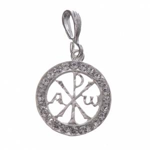 Pendant charm in 800 silver and white Swarowski crystal s1