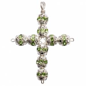 Pendant cross, green Swarovski diam. 0,24in with split pins s1